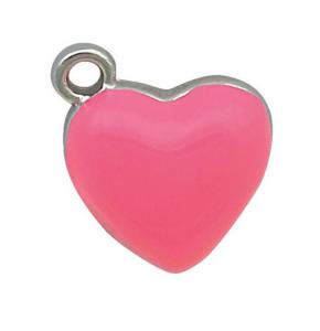 Charm cuore cromato rosa cm.1,2x1,4x0,2h