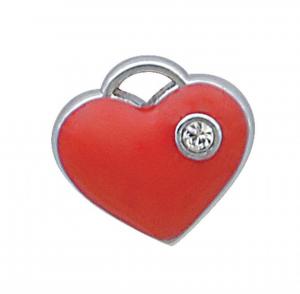 Charm cuore rosso cromato cm.1x1x0,2h