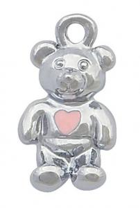 Charm orsetto cromato con cuore cm.1,5x0,9x0,2h