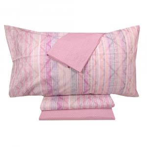 Lenzuola piazza e mezza completo con 2 federe ZUCCHI Basics Tonic rosa