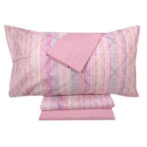 Completo lenzuola matrimoniali con 4 federe ZUCCHI Basics Tonic rosa