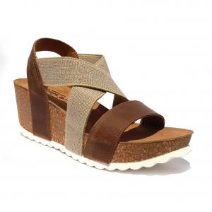 Sandalo cuoio/taupe con zeppa Elisir