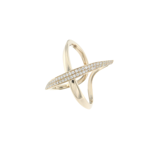 Anello incrocio in oro 18k e diamanti