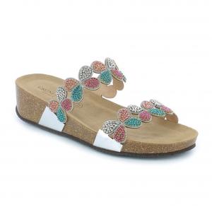 Ciabatta gioiello argento/multicolore Grunland