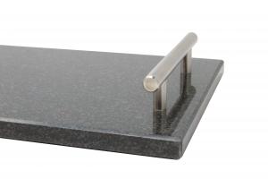 Vassoio/Tagliere in quazo nero con maniglie in acciaio
