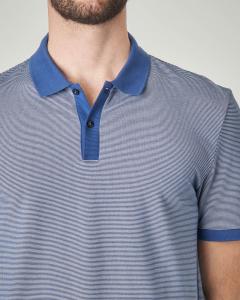 Polo blu royal micro-fantasia con collo, falsino e bordo maniche in contrasto