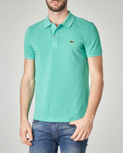 Polo verde menta slim fit 4012 in petit piqué