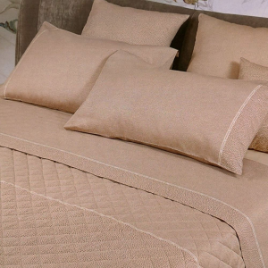 Borbonese sheet set double bed 2 squares in camel CENTURY satin