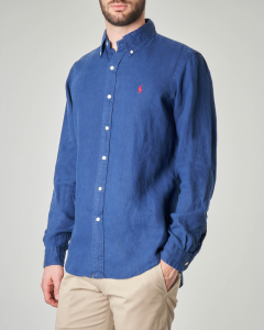 Camicia blu button down in lino