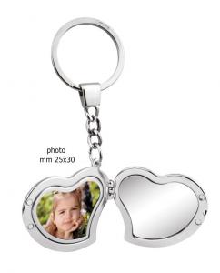 Portachiavi specchio portafoto doppio cuore cm.19,5x4,5x0,7h