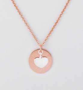 Collana lunga rosata con ciondoli cuore in argento 925%