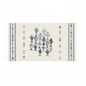 SKIPPER - MARINE fouta cotton beach towel with fringes 90x180 cm