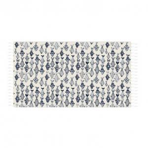 SKOPPER Fouta cotton beach towel with fringes 90x180 cm - SEA YOU SOON