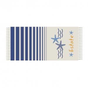 SKOPPER Fouta Strandtuch aus Baumwolle mit Fransen 90x180 cm - SOMMER