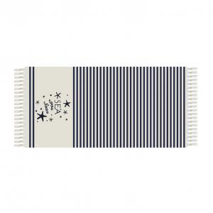 SKOPPER Fouta Strandtuch aus Baumwolle mit Fransen 90x180 cm - SEA YOU BALD