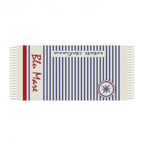 Fouta Strandtuch aus Baumwolle mit Fransen 90x180 cm SKIPPER - BLUE SEA