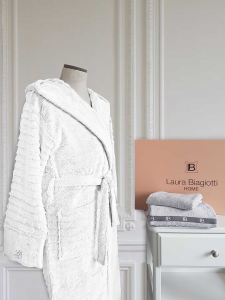 Bademantel für Frauen Laura Biagiotti Michelle Jacquard mit Kapuze-Weiß