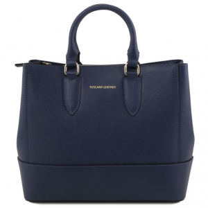Tuscany Leather TL141638 TL Bag - Borsa a mano in pelle Saffiano Blu scuro