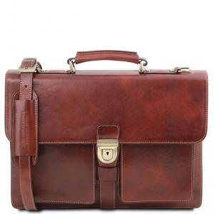 Tuscany Leather TL141825 Assisi - Cartella in pelle 3 scomparti Marrone