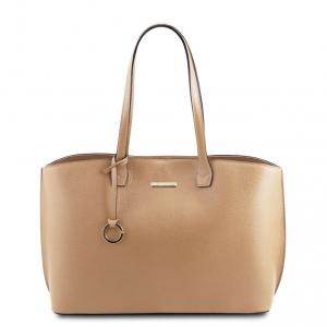 Tuscany Leather TL141828 TL Bag - Borsa shopping in pelle morbida Champagne