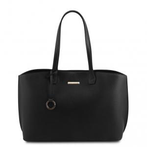 Tuscany Leather TL141828 TL Bag - Borsa shopping in pelle morbida Nero