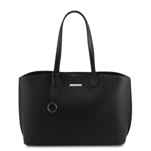 Tuscany Leather TL141828 TL Bag - Borsa shopping in pelle morbida Nero