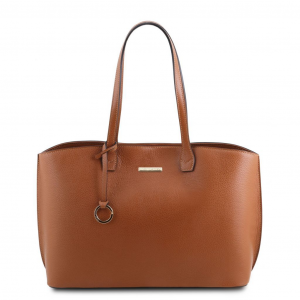Tuscany Leather TL141828 TL Bag - Borsa shopping in pelle morbida Cognac
