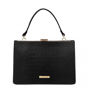 Tuscany Leather TL141839 Iris - Borsa a mano effetto cocco Nero