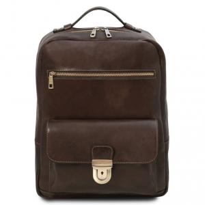 Tuscany Leather TL141859 Kyoto - Zaino porta notebook in pelle Testa di Moro