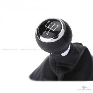 Set Completo Pomello Leva Cambio Manuale 5 Marce + Cuffia Similpelle Cuciture Nere + Telaio Ricambio Auto Nero Rifiniture Pomello Chrome E Rivestimento Abs Installazione Plug & Play