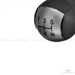 Pomello Leva Cambio Manuale 5 Marce E Retromarcia Ricambio Compatibile Auto Colore Nero Con Rifiniture Satinate Grigie E Rivestimento Materiale Abs Installazione Plug & Play