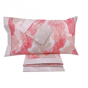 Completo lenzuola matrimoniale 2 piazze in puro cotone CORALLI rosso