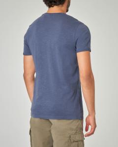T-shirt blu con taschino tessuto slub