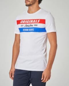 T-shirt bianca con fascia tricolore
