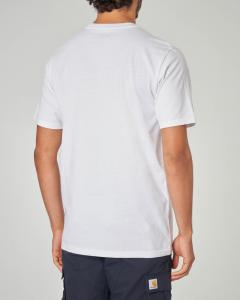 T-shirt bianca con taschino a righe