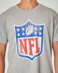T-shirt grigio melange con stampa NFL