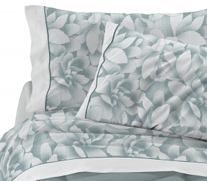 Completo lenzuola matrimoniale 2 piazze in puro cotone MAGNOLIE verde