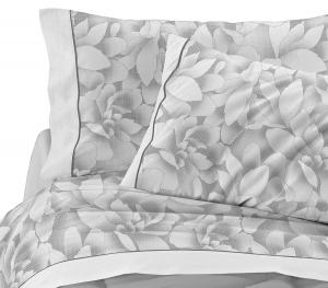 Completo lenzuola matrimoniale 2 piazze in puro cotone MAGNOLIE grigio