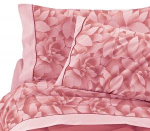 Completo lenzuola matrimoniale  in puro cotone MAGNOLIE 2 piazze rosa