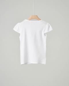 T-shirt bianca con stampa cuore e logo