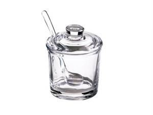 Scatola in vetro portamarmellata con cucchiaio cm.10,5h diam.8