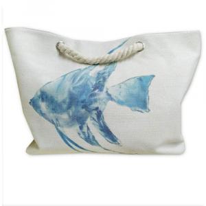 Borsa da spiaggia con manici e tasca interna PESCE azzurro