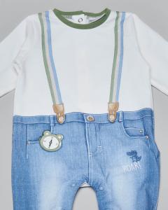 Tutina con pantalone stampato in demin e parte sopra a maniche lunghe con stampa a bretelle