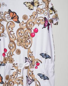 Tutina in viscosa a stampa multicolor con pantaloncino corto e apertura sulle spalle