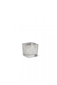 Cubo in vetro foglia argento cm.6x6x6h