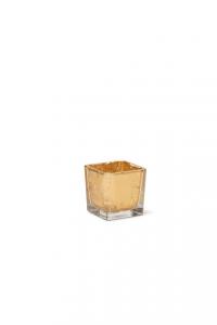 Cubo in vetro foglia oro cm.6x6x6h