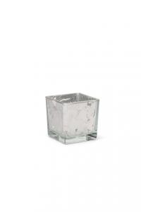 Cubo in vetro foglia argento cm.8x8x8h