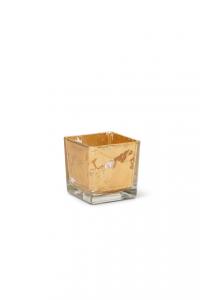 Cubo in vetro foglia oro cm.8x8x8h