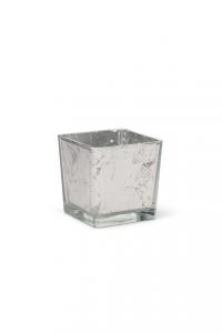 Cubo in vetro foglia argento cm.10x10x10h