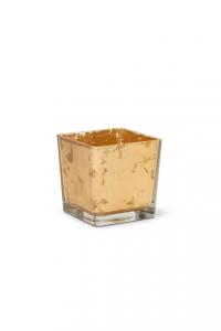 Cubo in vetro foglia oro cm.10x10x10h